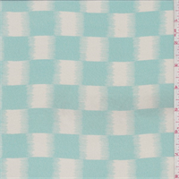 Aqua Green/White Ikat Check Silk Crepe de Chine