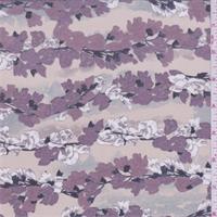 Bare Pink/Mauve Floral Chain Silk Crepe de Chine