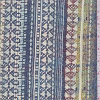 Blue Graphite Multi Tapestry Print Silk Crepe de Chine