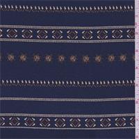 Dark Ink Blue Medallion Stripe Silk Crepe de Chine