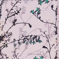 Lavendar Frost Floral Silk Crepe de Chine