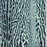 Mint Jaguar Print Silk Crepe de Chine