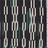 Black/Aqua Green Ikat Stripe Silk Crepe de Chine