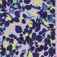 Dove Grey/Purple Floral Petal Silk Crepe de Chine