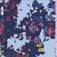 Deep Blue Multi Splatter Block Silk Crepe de Chine