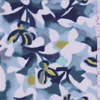 Shadow Blue Blurred Floral Silk Crepe de Chine