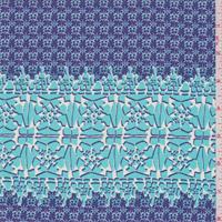 Violet Blue/Aqua Green Tile Print Silk Crepe de Chine