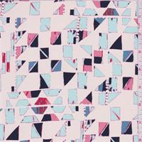 Manilla Multi Geometric Print Silk Crepe de Chine