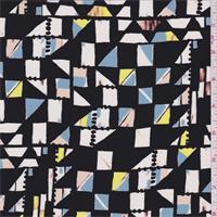 Black Multi Geometric Print Silk Crepe de Chine