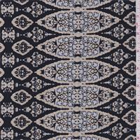 Black/Taupe Morracan Print Silk Crepe de Chine