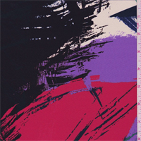 Black/Purple/Red Multi Brush Stroke Silk Crepe de Chine