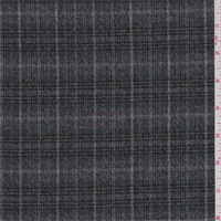 *1 3/4 YD PC--Grey/Spruce Windowpane Plaid Flannel Suiting