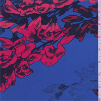 Electric Blue/Red Floral Silk Crepe de Chine
