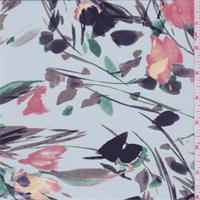 Pale Blue Multi Modern Floral Silk Crepe de Chine