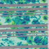 *4 1/2 YD PC--Aqua/Mint Floral Stripe Sweater Knit