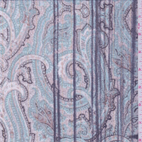 *3 YD PC--Beige/Spa Blue Paisley Crinkled Chiffon