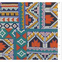 *1 1/4 YD PC--Teal Green Multi Aztec Print Silk Crepe de Chine