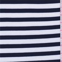 White/Navy Stripe Jersey Knit