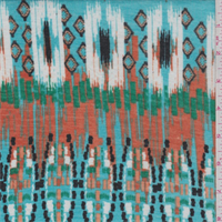 *3 1/2 YD PC--Turquoise/Orange Ikat Jersey Knit