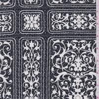 Black/White Stylized Scroll Block Silk Crepe de Chine