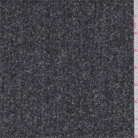 *3 3/4 YD PC--Black/White Herringbone Wool Suiting