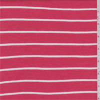 Coral Orange/White Stripe Rayon Jersey Knit