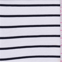 White/Black Stripe Ribbed Jersey Knit