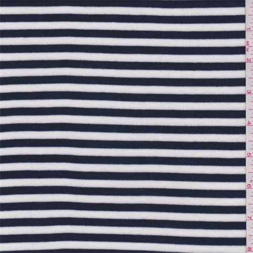 172ac8f985b Navy/White Stripe Ribbed Jersey Knit - 62990 | Fashion Fabrics