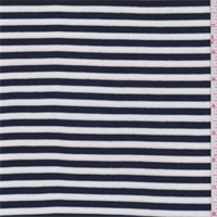 Navy/White Stripe Ribbed Jersey Knit