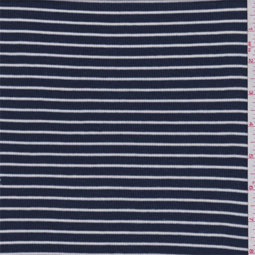 be4400aa654 Navy/White Pinstripe Ribbed Jersey Knit - 62936 | Fashion Fabrics