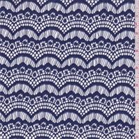 Navy Sea Blue Scallop Fan Lace