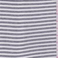White/Grey Heather Stripe Rib Jersey Knit
