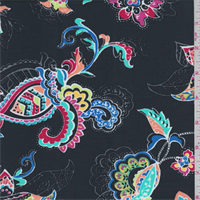 *2 YD PC--Black Multi Stylized Floral Swimwear