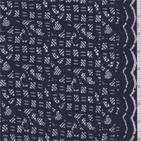 Dark Navy Scroll/Check Lace