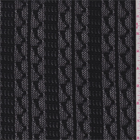 Black Wavy Stripe Crochet Lace