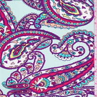 *2 1/2 YD PC--Mint/Purple/Ivory Paisley Swimwear