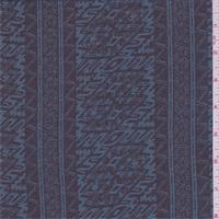 Black/Teal Blue Tribal Stripe Chiffon
