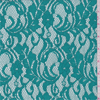 Aqua Green Floral Scroll Lace