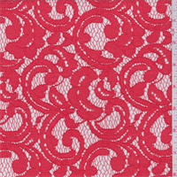 Bright Salmon Scroll Lace