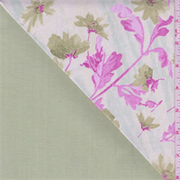 Pale Lime/Pink Floral Double Faced Denim