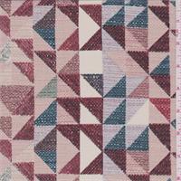 *1 1/8 YD PC--Bare Pink Multi Geometric Silk Crepe de Chine