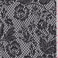 Black/Silver Floral Nylon Lace