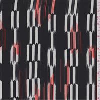 Black/White/Fire Arrow Stripe Crepe de Chine