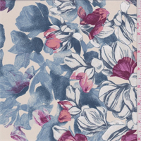 Almond/Wedgewood Tropical Floral Crepe de Chine