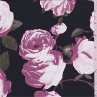 *3 1/4 YD PC--Black/Pink Floral Charmeuse