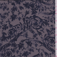 *3 YD PC--Pewter/Navy Floral Scroll Polyester Charmeuse