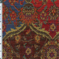 ** 2 yd pc -- Tomato Red Marrakesh Tapestry Upholstery Fabric
