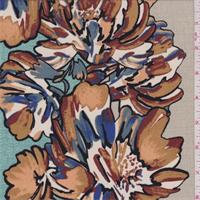 Beige Confetti Floral Stripe Crepe de Chine