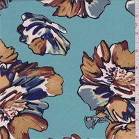 Bright Aqua Large Floral Crepe