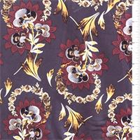 Plum Stylized Floral Jersey Knit